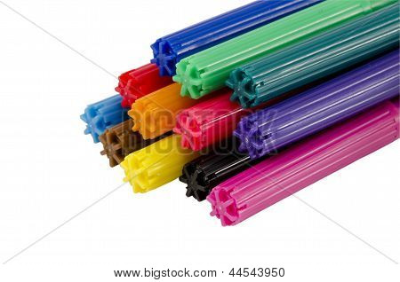 Stacked Colorful Felt Tip Pen Cap Isolated White