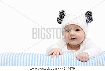 Happy Baby In Knitted Hat