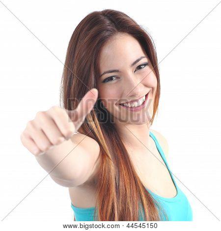 Close Up Of A Beautiful Teenager Thumb Up
