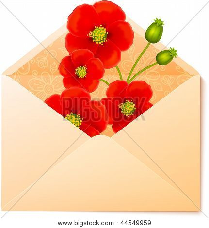 Vecot envelope with red flowers inside