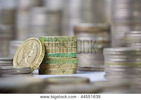 Closeup Of Stack Of British Pound Coins