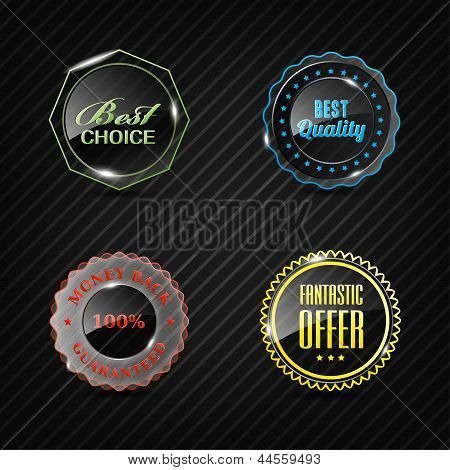 Set Of Vector Glass Labels