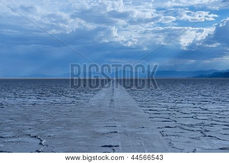Car Tracks On Salt Flats.