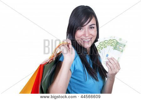Shopping Brunette Girl