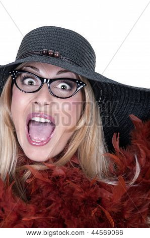 Funny Girl With Glasses And Hat