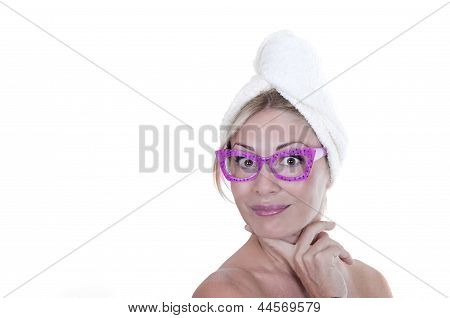 Beautiful Funny Woman Wearing A Towel
