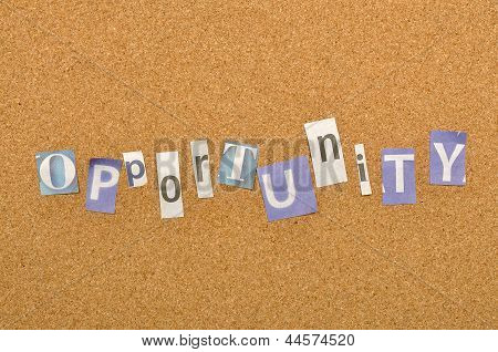 Opportunity Word Made From Newspaper Letter