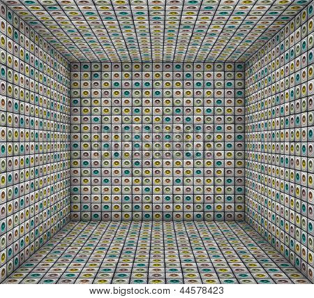 3D Sound - System Mosaic Grunge Square Tiled Empty Space