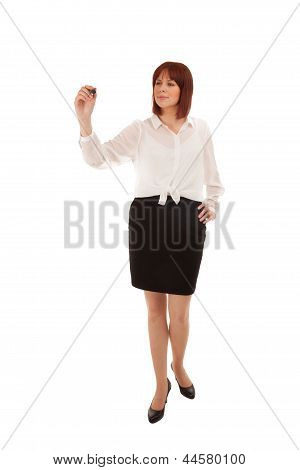 Woman Doing A Presentation Writing On Copyspace
