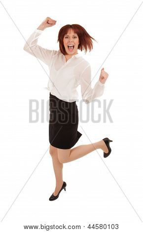 Excited Woman Leaping For Joy