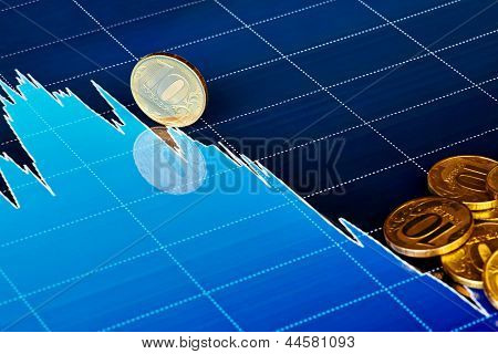 Golden Coins On Downtrend Chart. Selective Focus