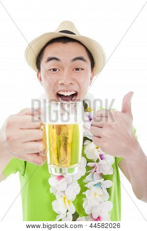Happy Young Man Drinking Beer And Enjoy Summer Vacation