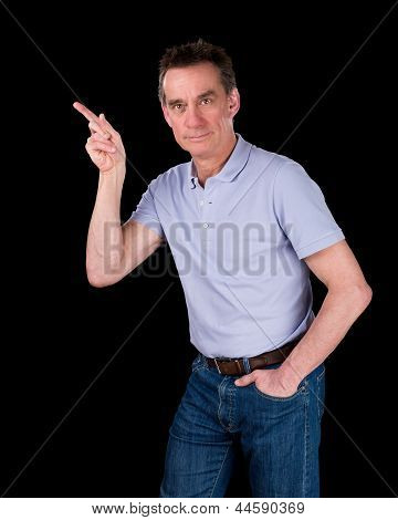 Handsome Middle Age Man Pointing At Something