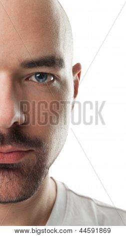 Bald man model on a white background.