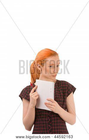 Sceptical Young Redhead Secretary