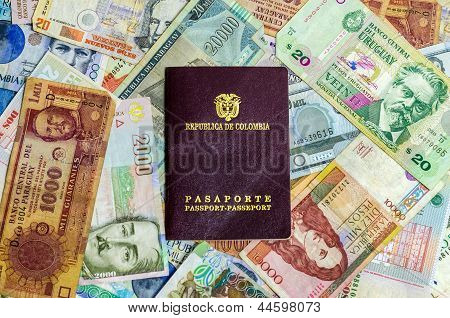 Colombian Passport And Money
