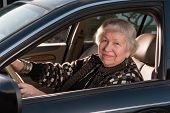 86 year old woman driving car looking out window poster