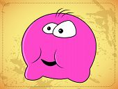 Round amazed pink monster, vector illustration. This is file of EPS8 format. poster