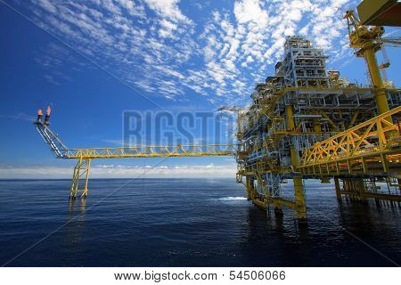 Oil and gas platform in offshore or Offshore construction, Exploration and production oil and gas in