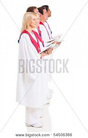 group of church choir singers with hymnal on white background