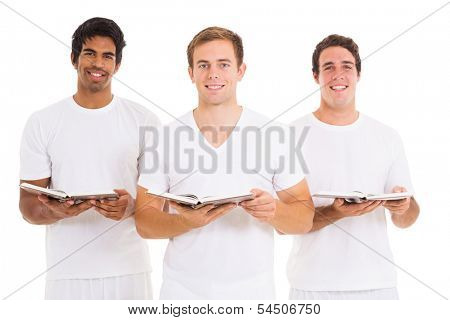 three young men singing from church hymnal isolated on white