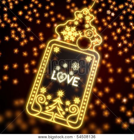 Noble Christmas Label With Love Sign