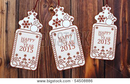 Three Christmas Cards With Happy New Year Sign