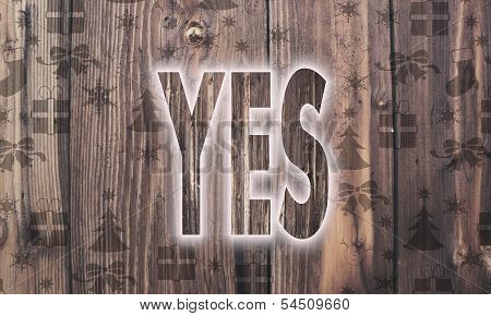 Wooden Yes Symbol With Presents