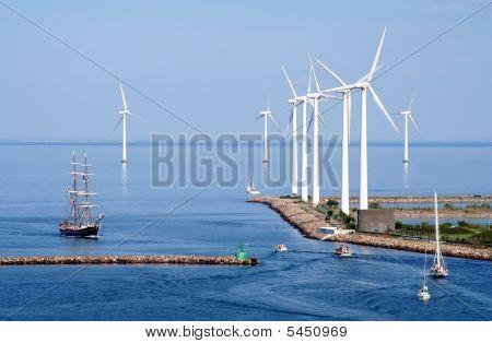Tallship And Wind Farm