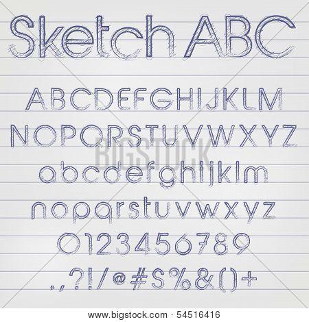 Vector Sketched Alphabet