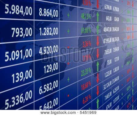 illustration of stock quotes at the stock market poster