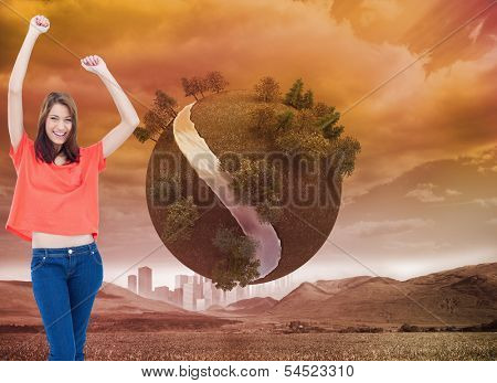 Composite image of young woman laughing while wearing casual clothes and raising her arms poster