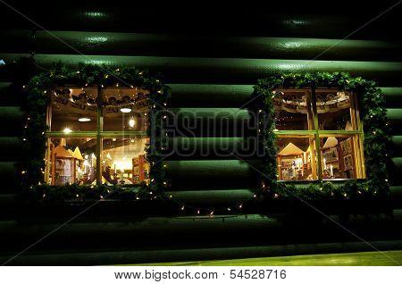 Christmas windows night decoration