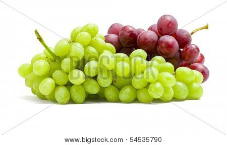 Close up of two bunches of grape, isolated on white. Concept of healthy eating and dieting lifestyle