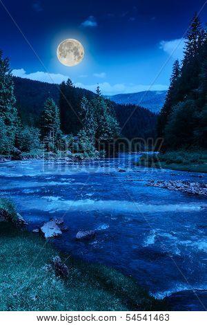 Mountain River At Night