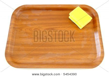 Isolated Wooden Tray And Dish Sponge Composition