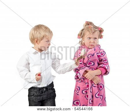 discontented wife in curlers and husband giving money for forgiving. children parody. poster