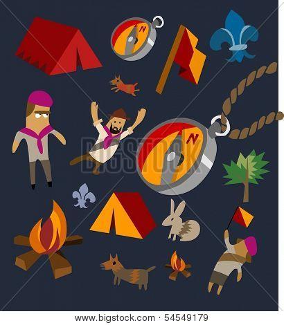 Camping set flat. hand drawn Vector illustration