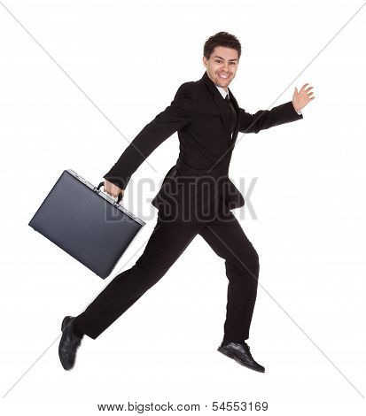Businessman Running With His Briefcase
