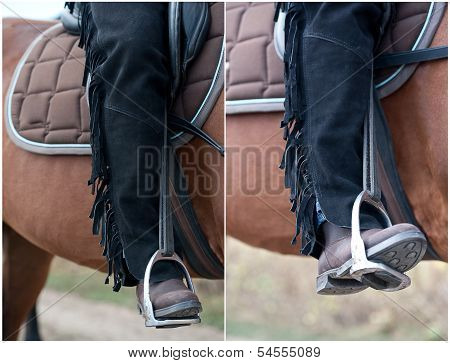 Close up of the booted foot of a cowboy on his horse. A picture of an equestrian on a brown horse. Cowboy's leg and foot in stirrup on horse. poster