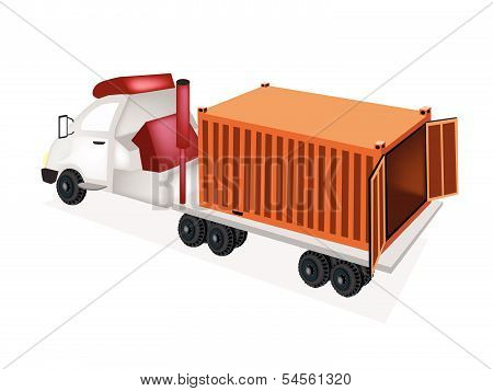A Flatbed Trailer Delivering A Cargo Container