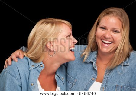 Two Beautiful Sisters Laughing