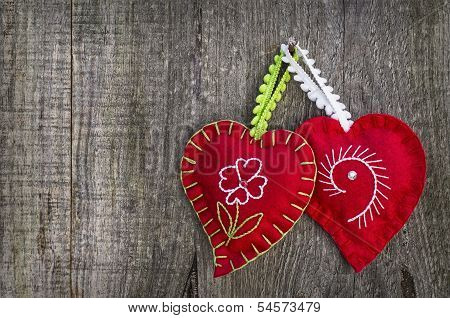 Hearts In Wood Background