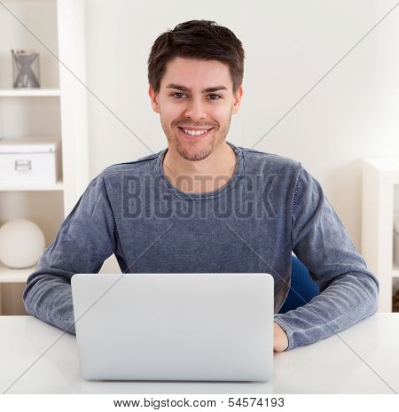Smiling handsome casual young man sitting at a table using a laptop in a home office poster