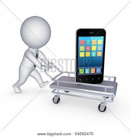 Cellphone on pushcart.