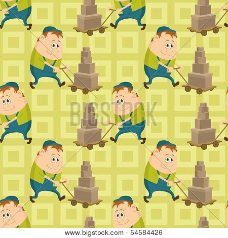 Worker porters, seamless pattern
