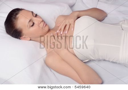 Lady Relaxing In Massage Salon