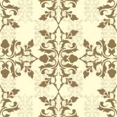 Brown damask wallpaper or flowers pattern vector poster