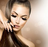 Beauty Fashion Model Girl with Long Healthy Brown Hair, Long Eyelashes. Fashion Trendy Caviar Black Manicure. Nail Art. Beautiful Stylish Woman with Healthy Smooth Skin. Ponytail. Perfect Makeup poster