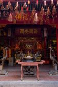 Interior of Hoi Quan Ha Chuong a Chinese temple in Cho Lon the Chinatown of Ho Chi Minh City in Vietnam. poster